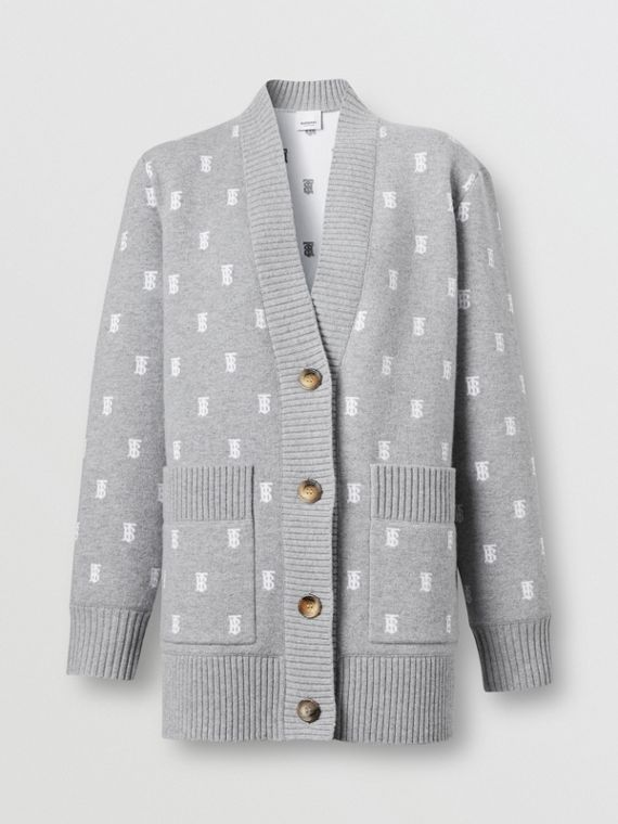 Monogram Wool Cashmere Blend Oversized Cardigan in Mid Grey Melange