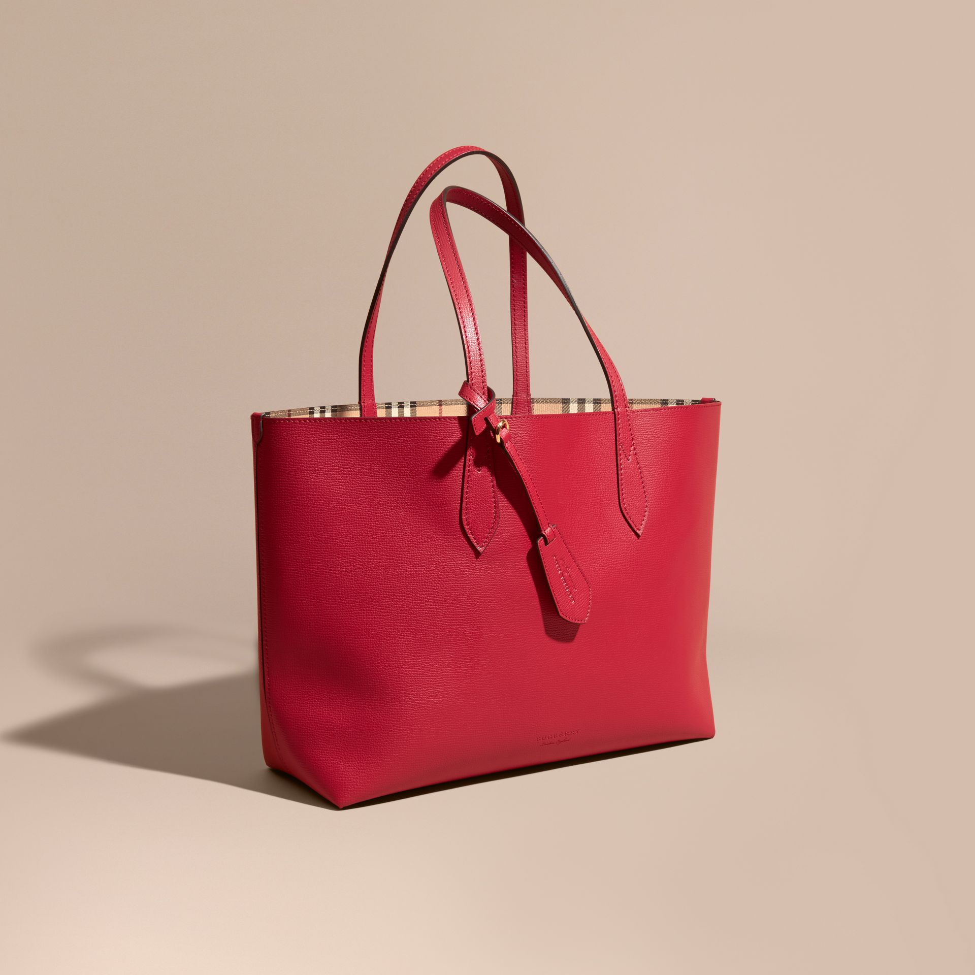 The Medium Reversible Tote in Haymarket Check and Leather Poppy Red - gallery image 1
