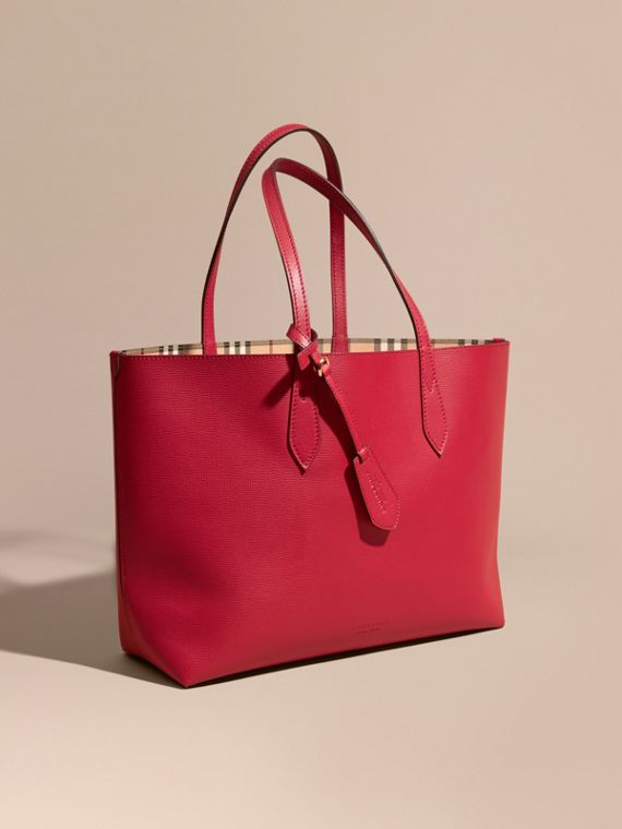 The Medium Reversible Tote in Haymarket Check and Leather Poppy Red