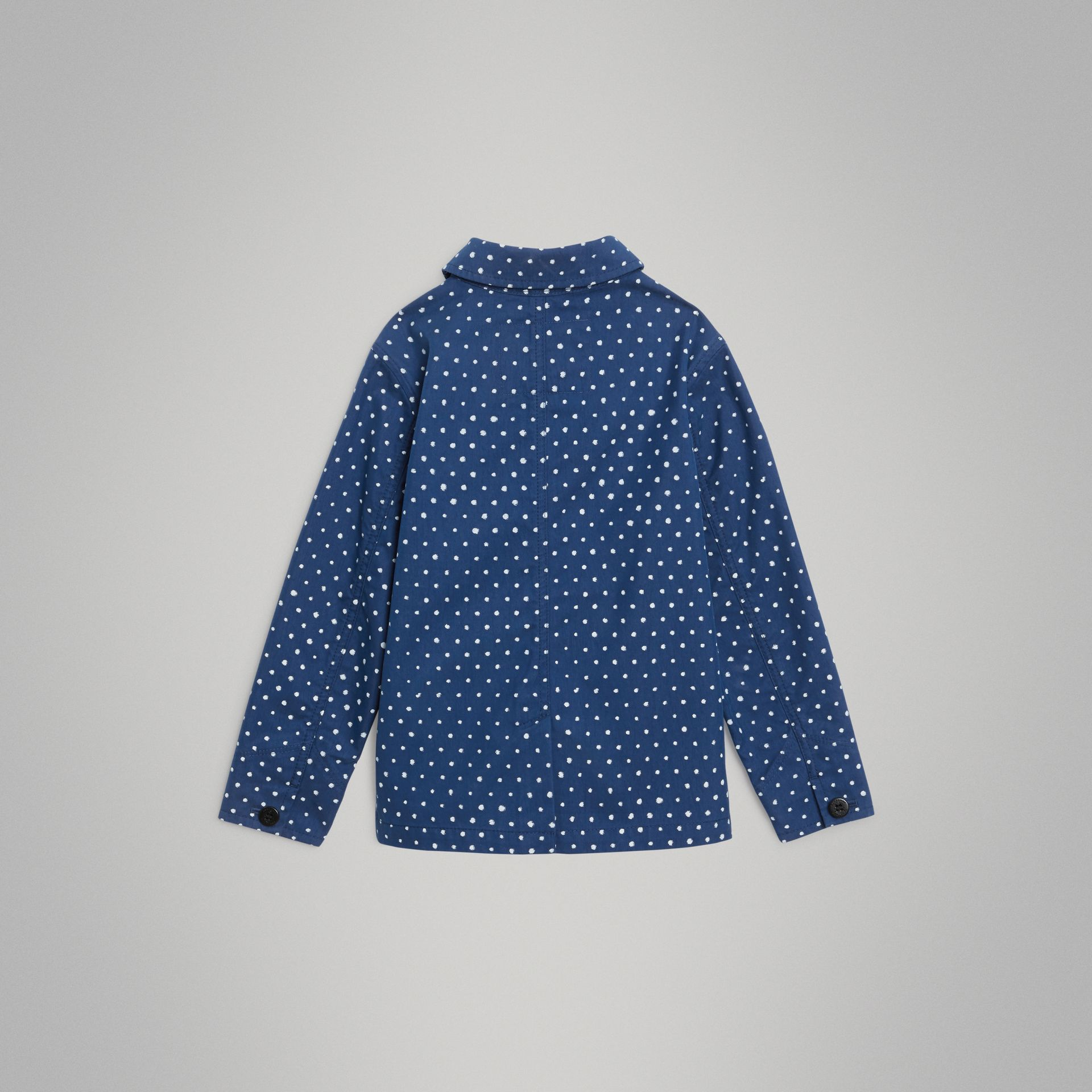 Spot Print Cotton Blend Jacket in Bright Navy | Burberry - gallery image 3