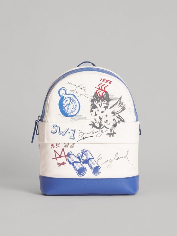 Adventure Print Cotton Canvas Backpack in Blue