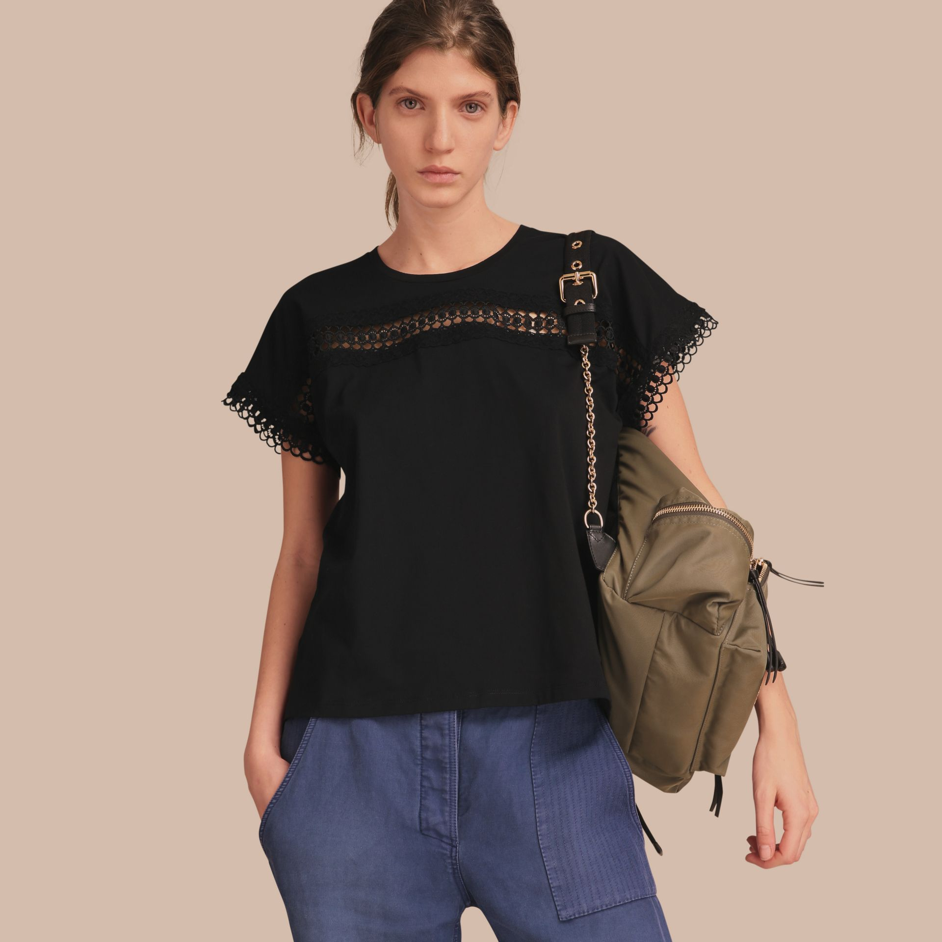 Lace Detail Cotton T-shirt Black - gallery image 6
