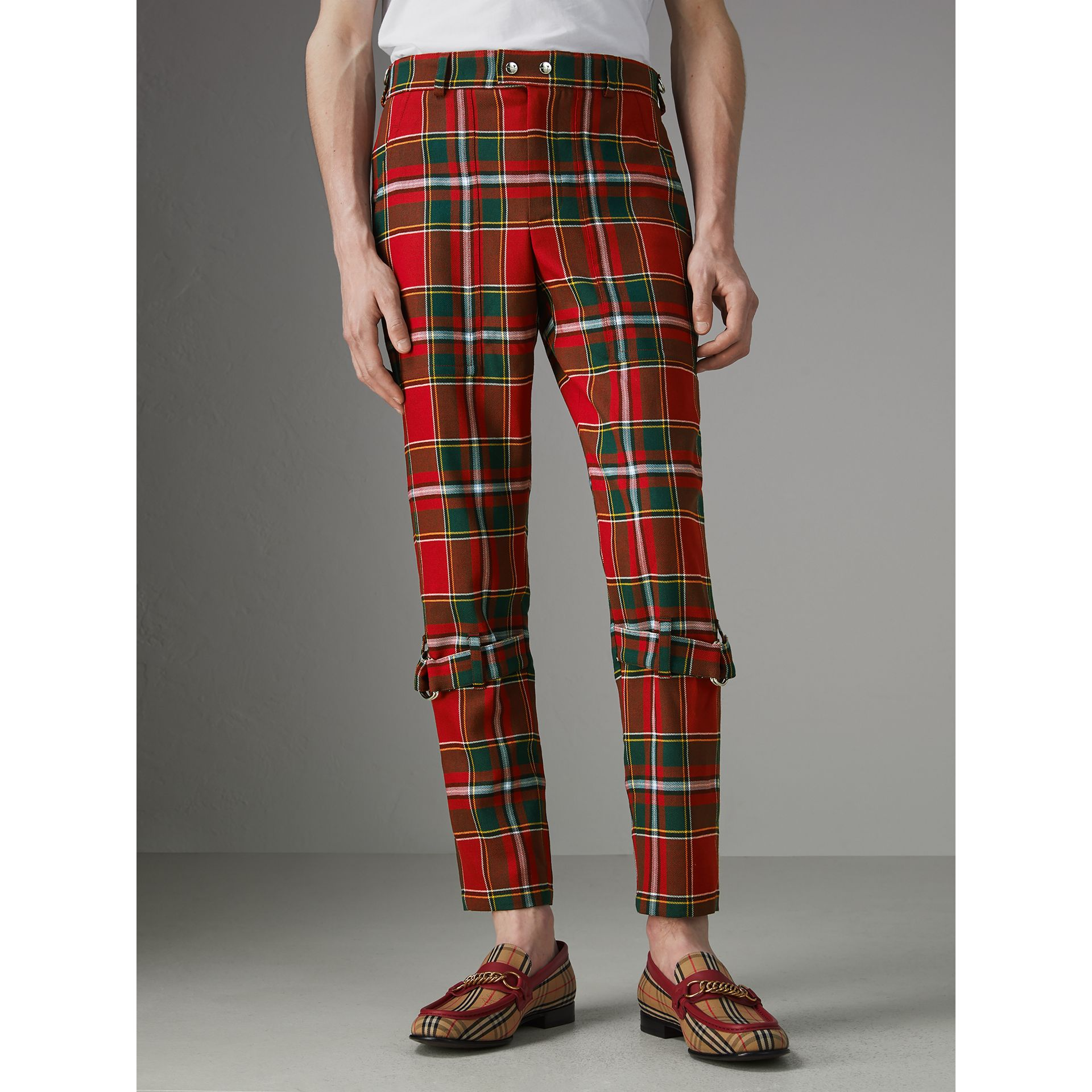 Modern Stewart Royal Tartan Punk Trousers in Bright Red | Burberry - gallery image 1