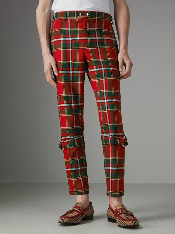 Modern Stewart Royal Tartan Punk Trousers in Bright Red | Burberry - cell image 1