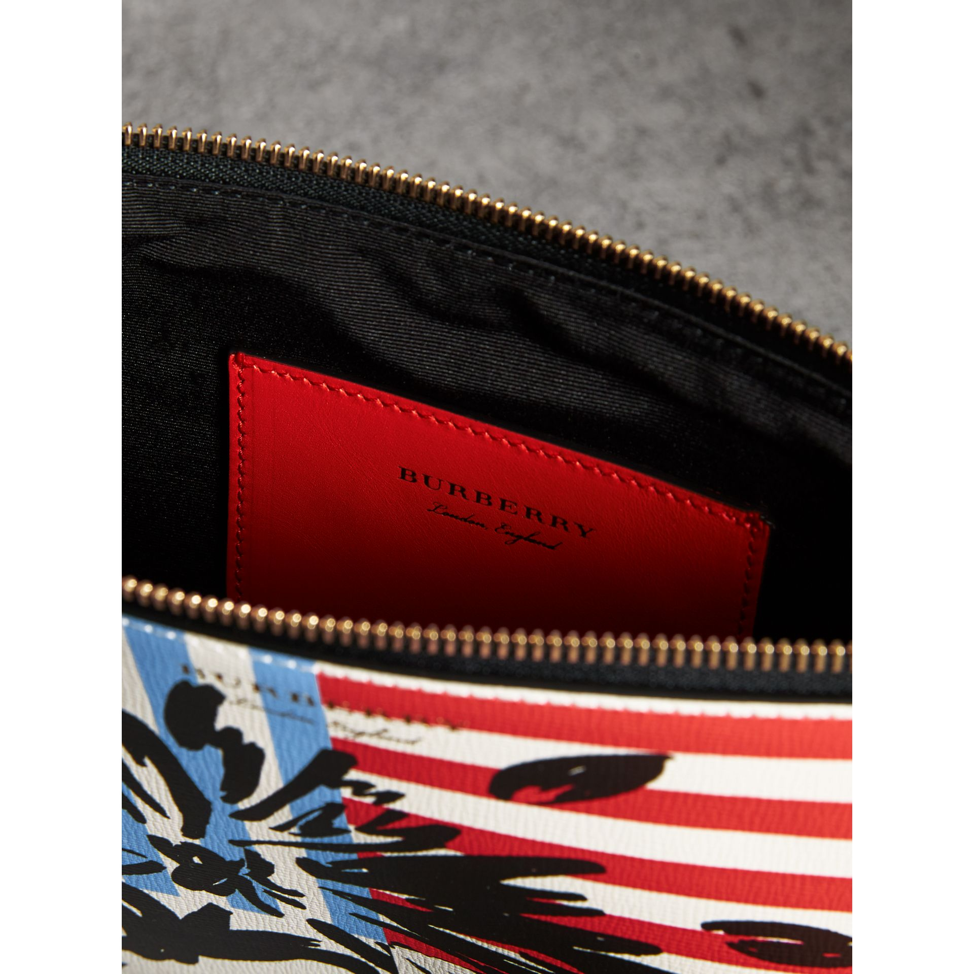 Large Floral Stripe Print Leather Zip Pouch in Patchwork | Burberry - gallery image 4