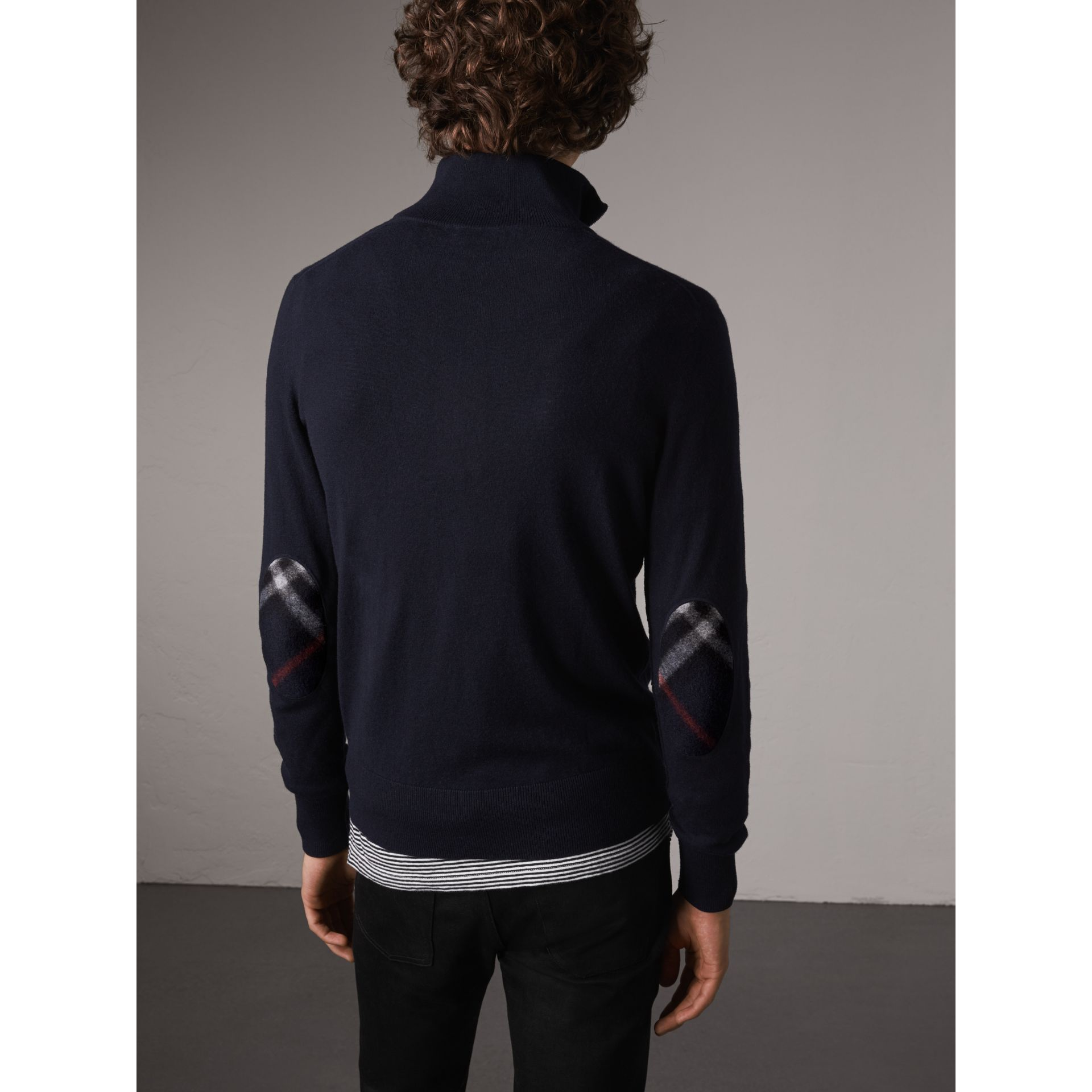 Zip-neck Cashmere Cotton Sweater in Navy - Men | Burberry United Kingdom - gallery image 2