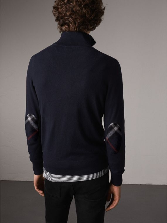 Zip-neck Cashmere Cotton Sweater in Navy - Men | Burberry Singapore - cell image 2