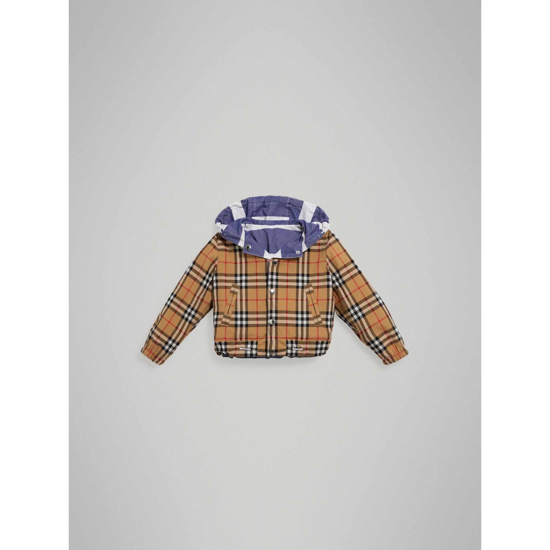Reversible Stripe and Vintage Check Cotton Jacket in Navy/white - Boy | Burberry United States - gallery image 5