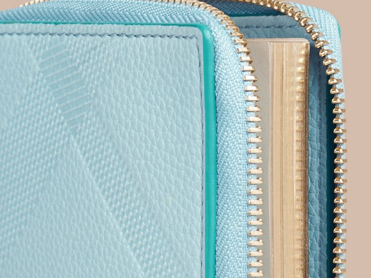 Bright mineral blue Ziparound Embossed Check Grainy Leather Mini Notebook Bright Mineral Blue - cell image 1