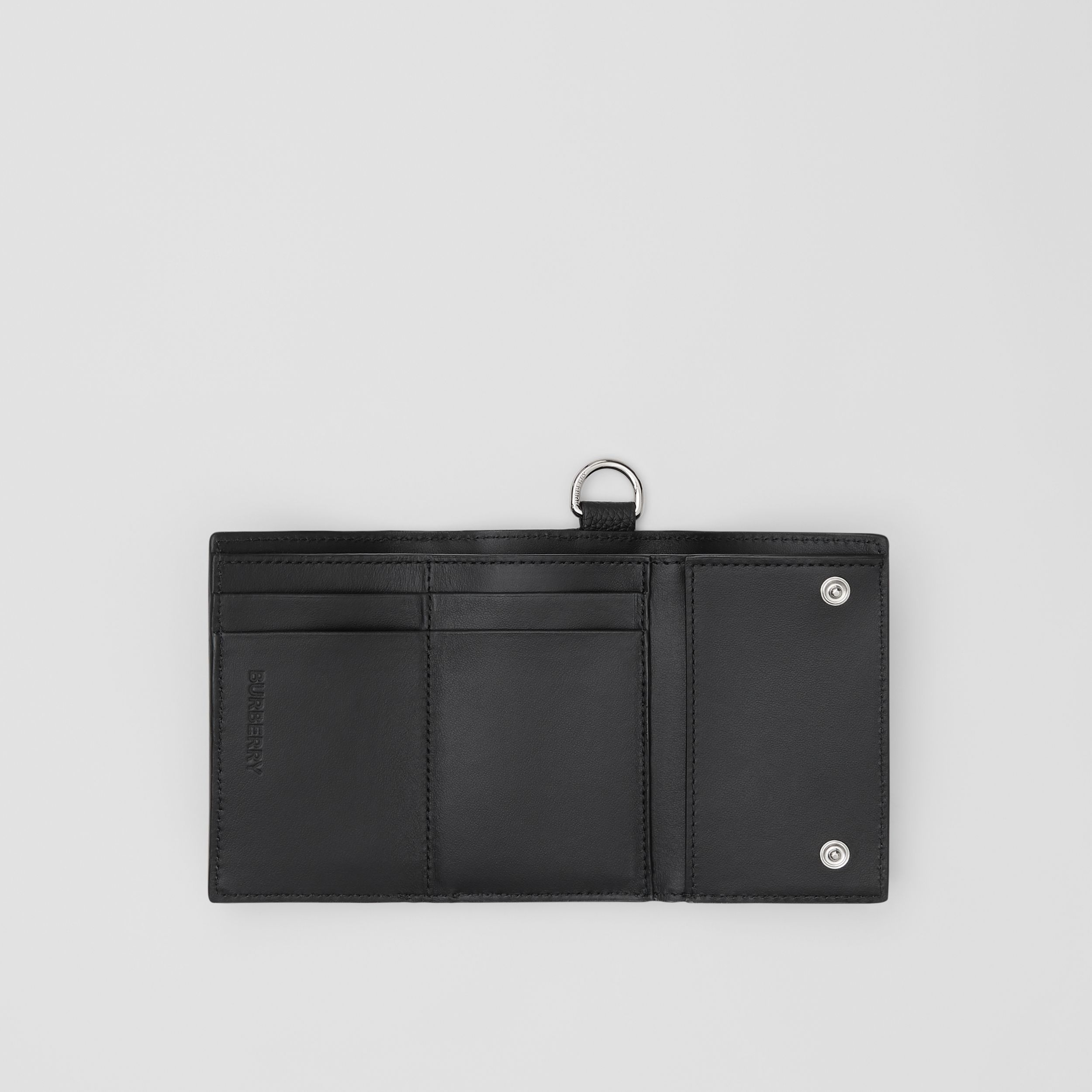 Small Logo Graphic Grainy Leather Folding Wallet in Black - Men | Burberry - 4