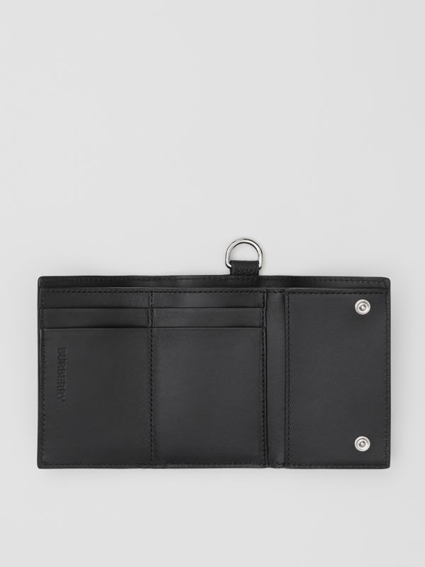 Small Logo Graphic Grainy Leather Folding Wallet in Black - Men | Burberry United Kingdom - cell image 3