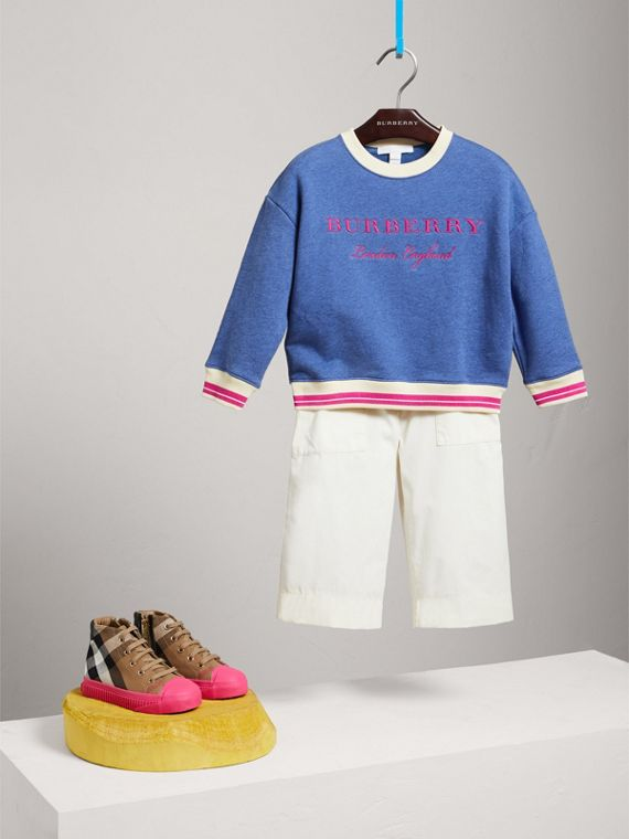 Striped Hem Embroidered Cotton Jersey Sweatshirt in Hydrangea Blue
