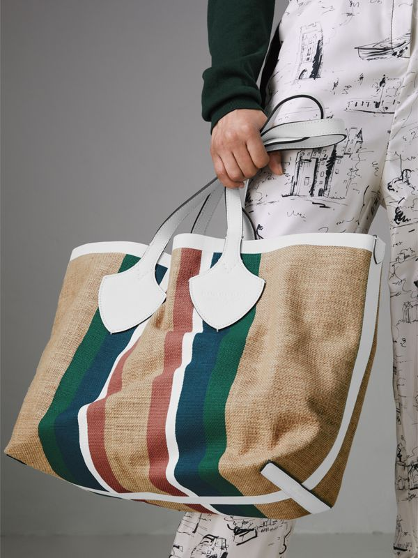 The Medium Giant Tote in Striped Jute in Chalk White - Women | Burberry - cell image 3