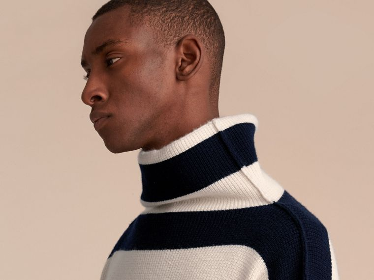 Striped Knitted Cashmere Roll-neck Sweater - Men | Burberry - cell image 4