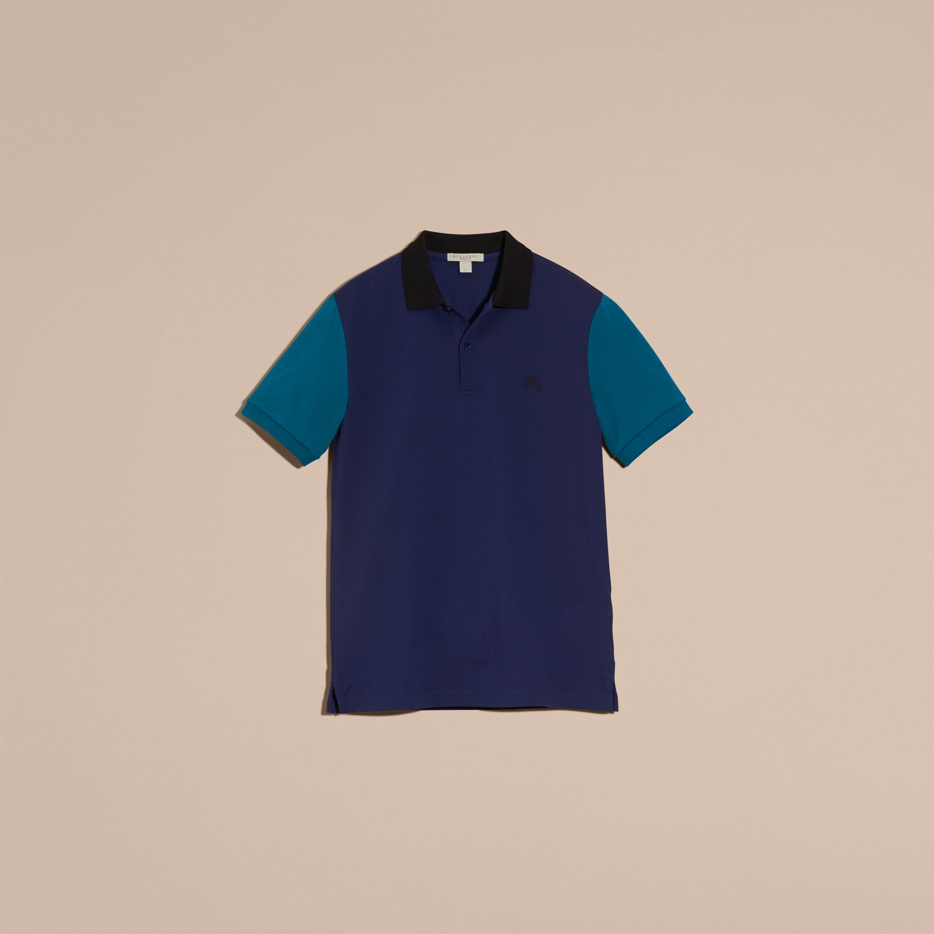 Indigo Colour-block Cotton Piqué Polo Shirt Indigo - gallery image 4