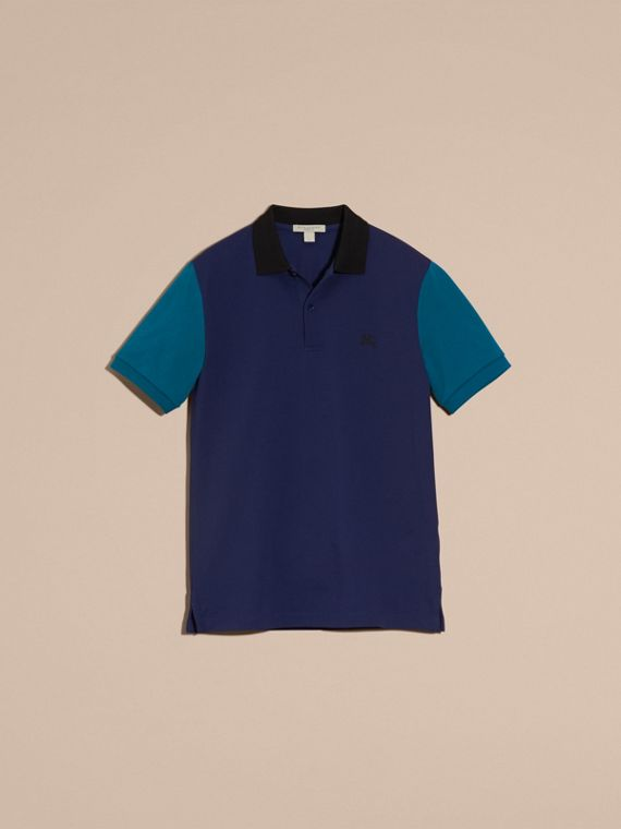 Indigo Poloshirt aus Baumwollpiqué im Colour-Blocking-Design Indigo - cell image 3