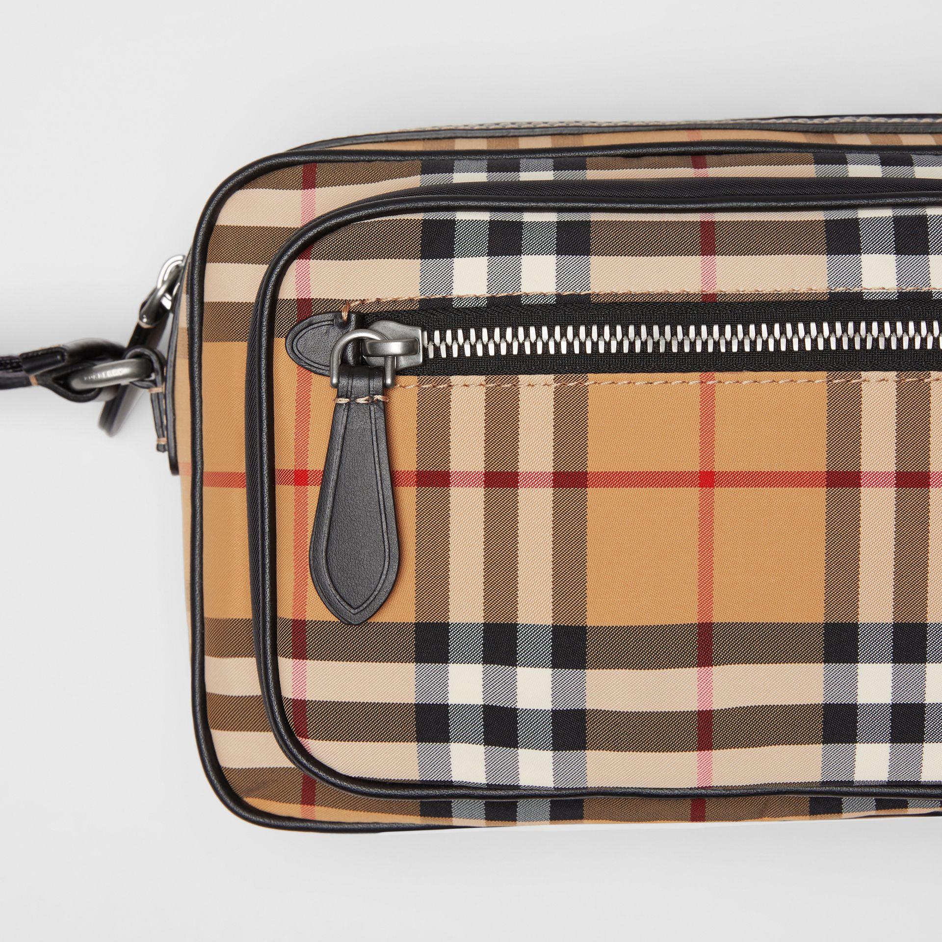 Vintage Check and Leather Crossbody Bag in Antique Yellow - Men | Burberry United States - gallery image 1