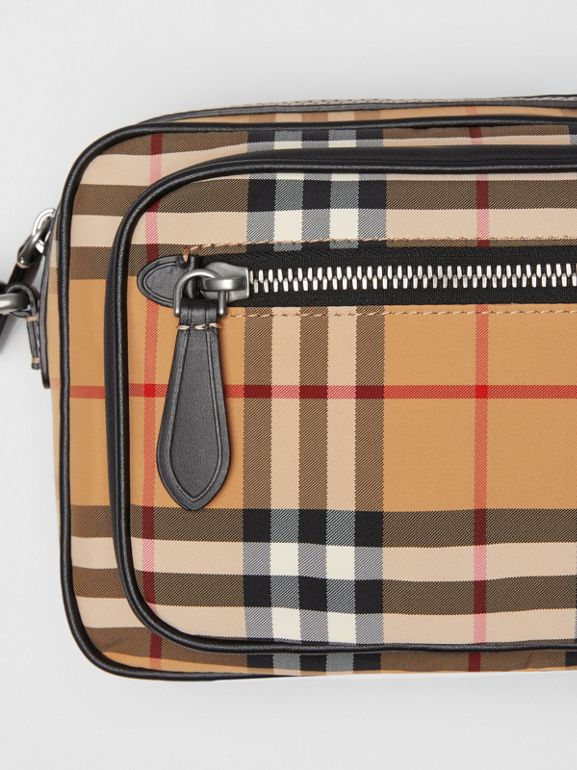 Vintage Check and Leather Crossbody Bag in Antique Yellow - Men | Burberry United States - cell image 1