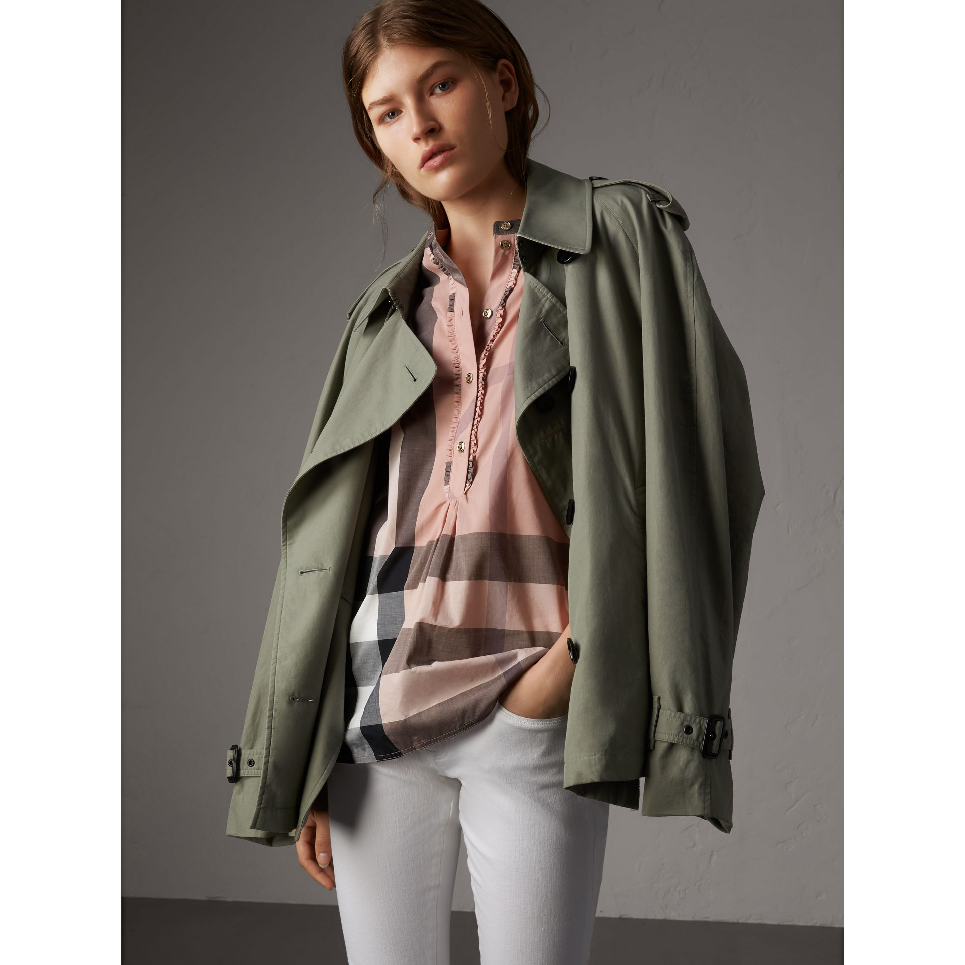 Check Grandad Collar Shirt in Antique Pink - Women | Burberry Australia - gallery image 4