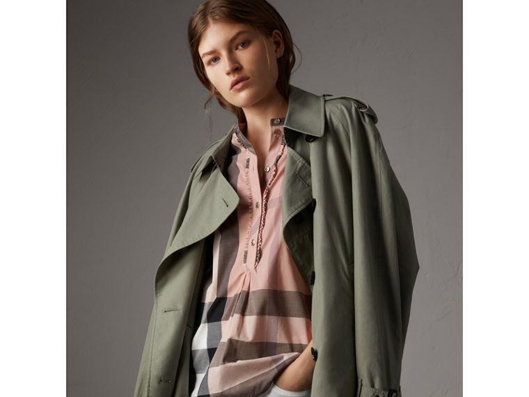 Check Grandad Collar Shirt in Antique Pink - Women | Burberry United Kingdom - cell image 4