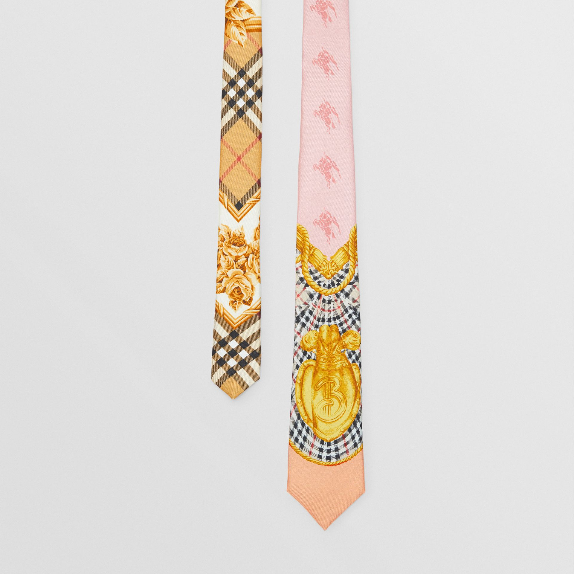 Slim Cut Archive Scarf Print Silk Tie in Pale Pink - Men | Burberry - gallery image 0