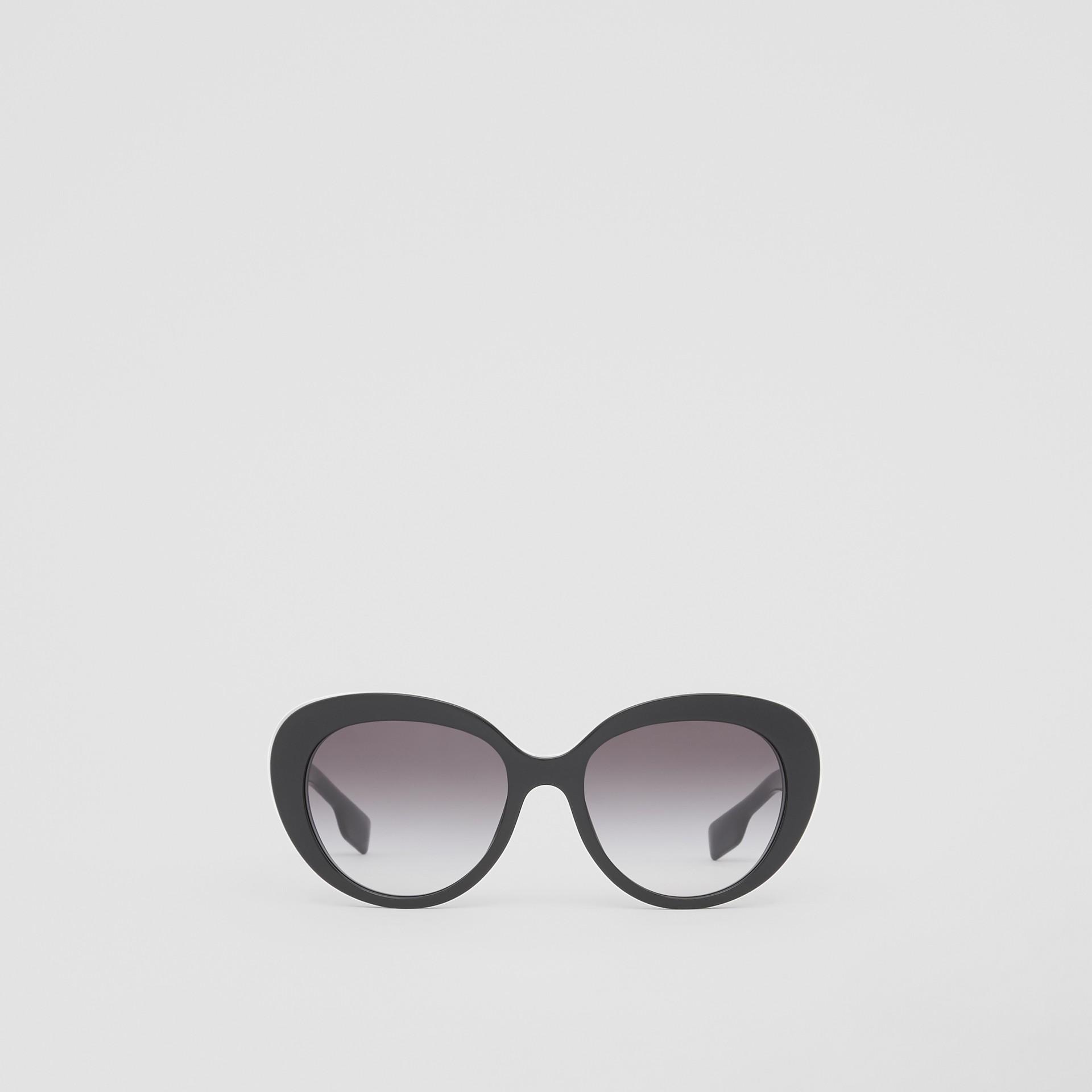Monogram Motif Cat-eye Frame Sunglasses in Black - Women | Burberry United Kingdom - gallery image 0