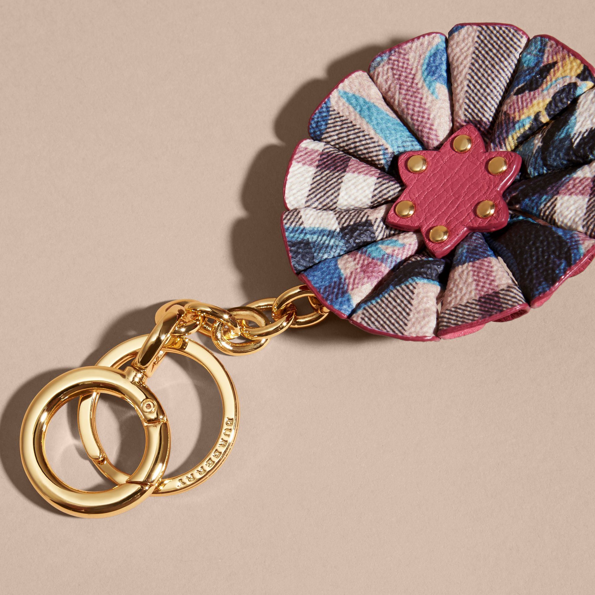 Plum pink Floral Print Haymarket Check Concertina Key Charm Plum Pink - gallery image 4