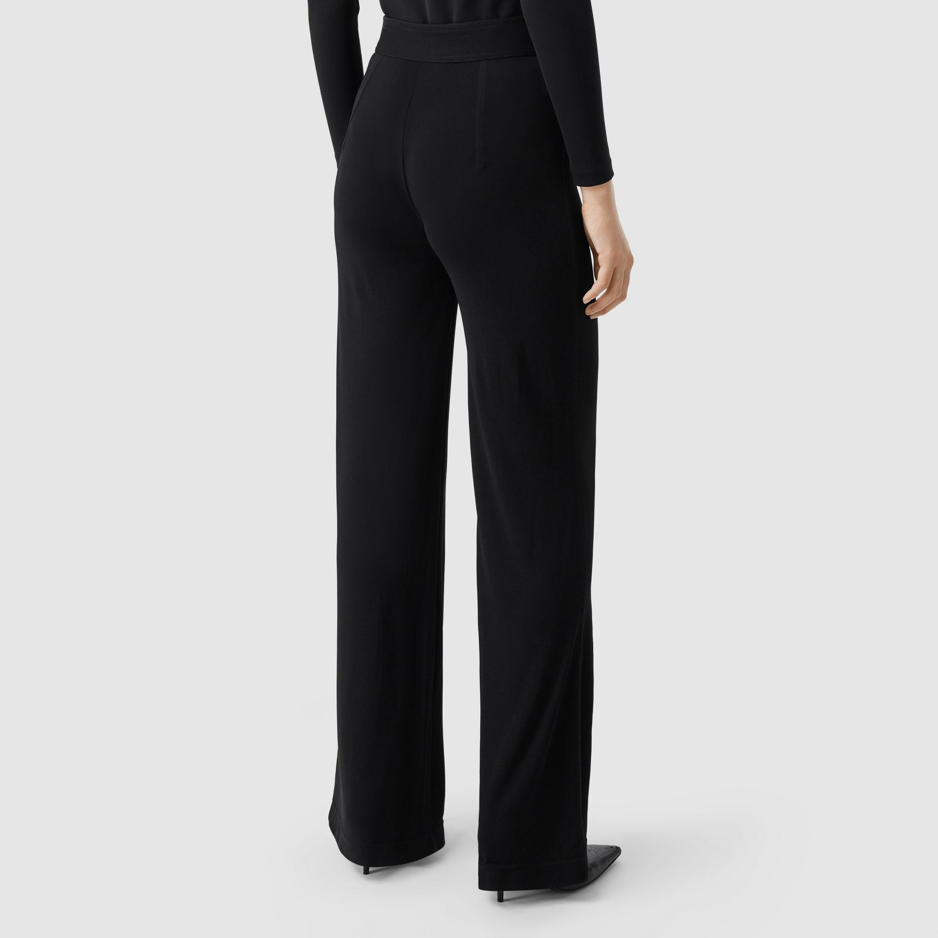 Jersey Wide-leg Trousers in Black - Women | Burberry United Kingdom - gallery image 2