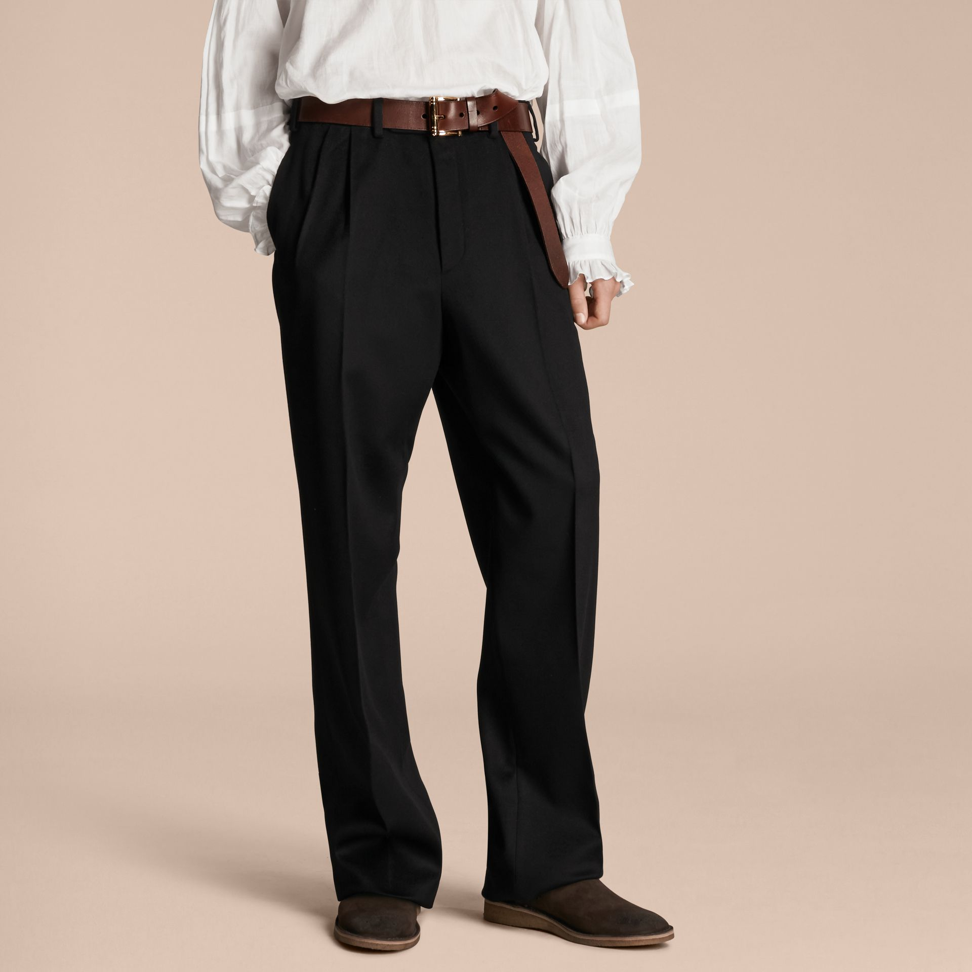 Wide-leg English Moleskin Wool Trousers - gallery image 1