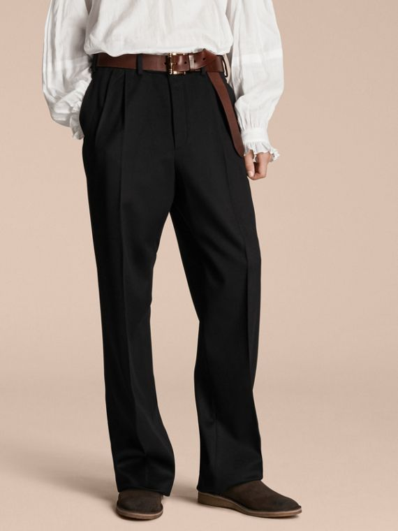 Wide-leg English Moleskin Wool Trousers