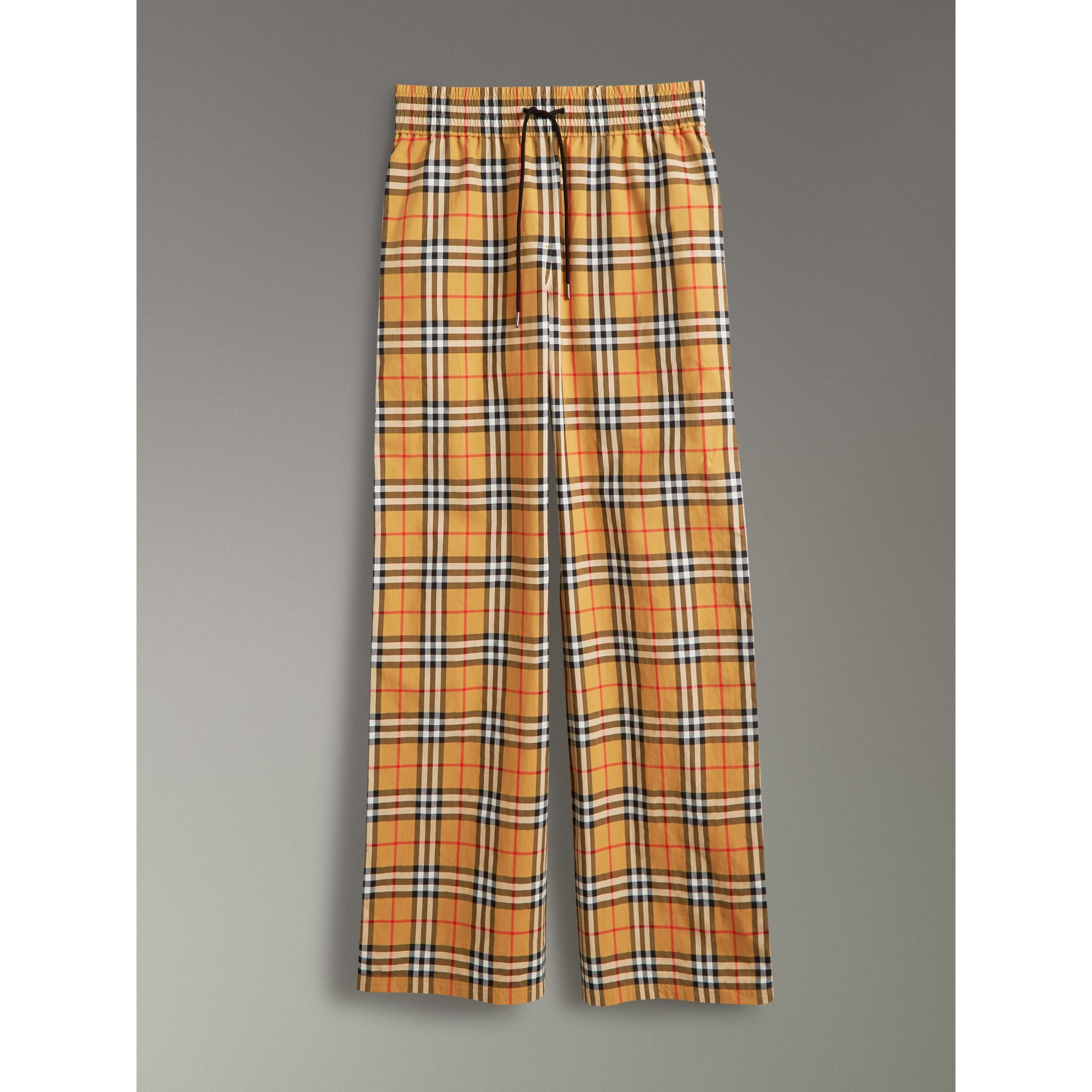 Pantalon à motif Vintage check avec cordon de serrage (Jaune Antique) - Femme | Burberry - photo de la galerie 3
