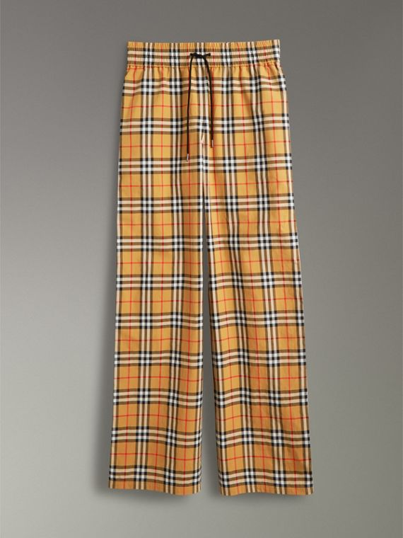 Vintage Check Drawcord Trousers in Antique Yellow - Women | Burberry Hong Kong - cell image 3