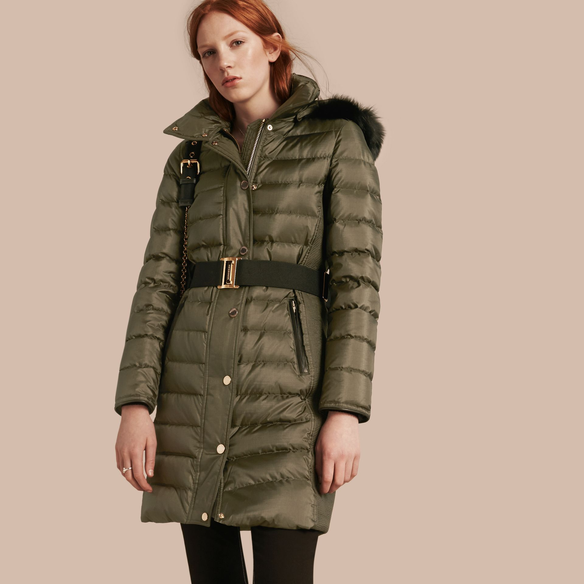 Dark olive Down-filled Coat with Fur-trimmed Hood Dark Olive - gallery image 1