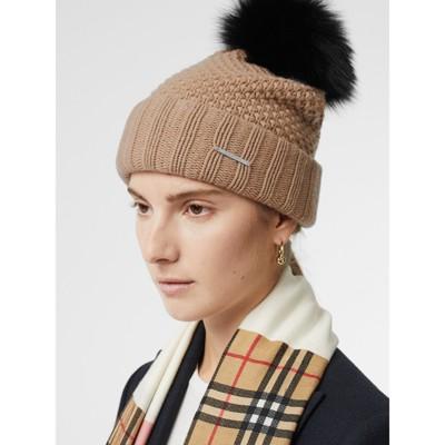 Burberry - Bonnet en laine et cachemire avec pompon en fourrure - 3