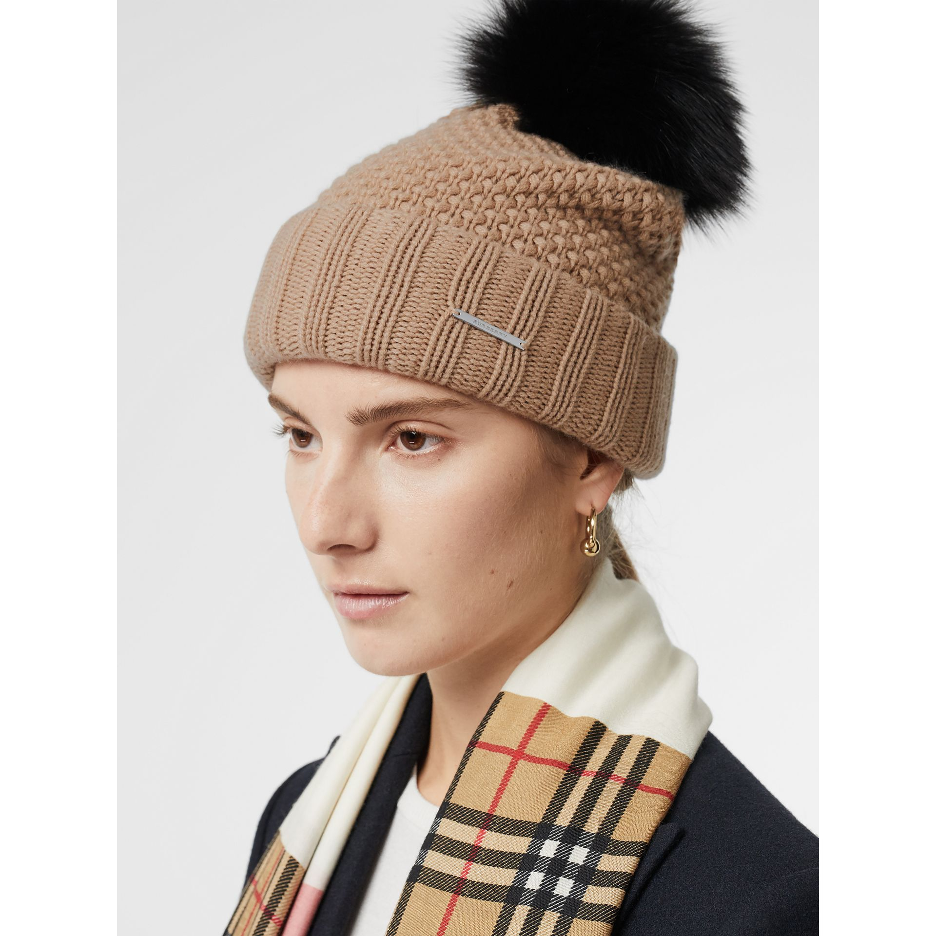 Fur Pom-Pom Wool Cashmere Beanie in Camel - Women | Burberry Canada - gallery image 2