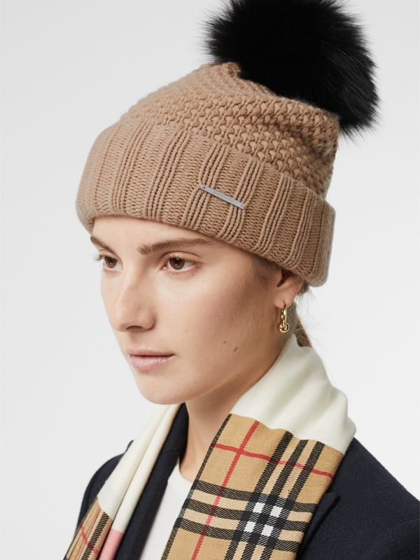 Fur Pom-Pom Wool Cashmere Beanie in Camel - Women | Burberry Canada - cell image 2