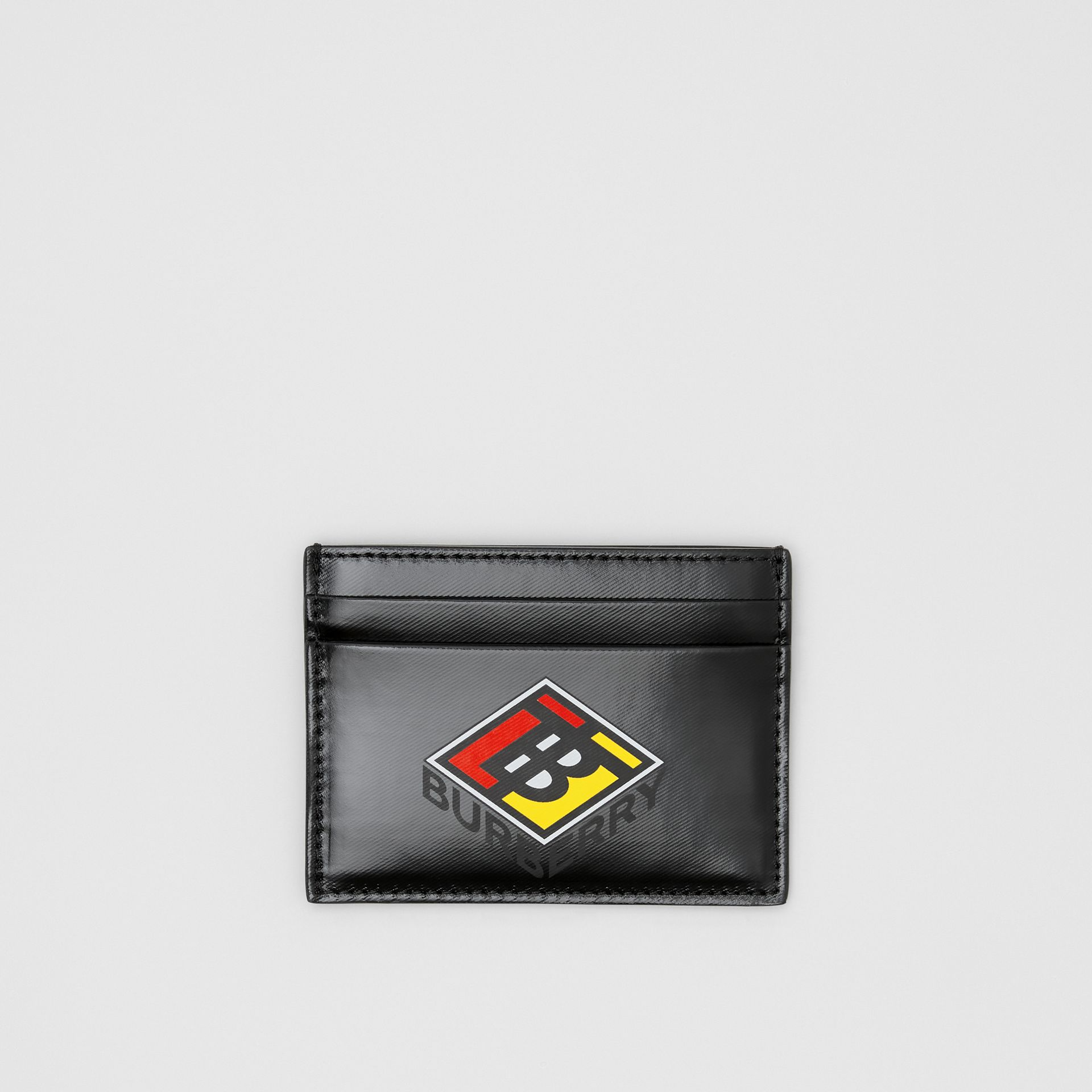 Logo Graphic Canvas Card Case in Black - Men | Burberry - gallery image 0