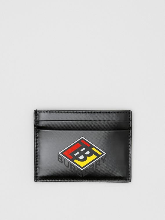 Logo Graphic Canvas Card Case in Black