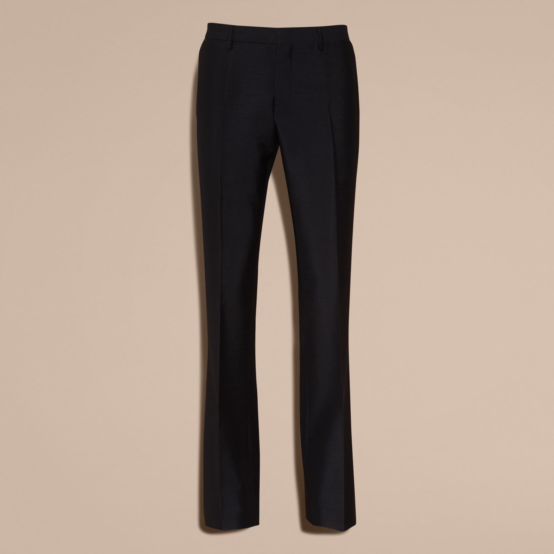 Bleu étain Pantalon bootcut en mohair et laine mélangés - photo de la galerie 4