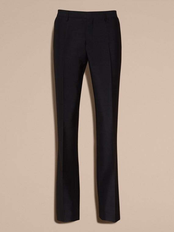 Blu peltro Pantaloni a fondo ampio in misto mohair e lana - cell image 3