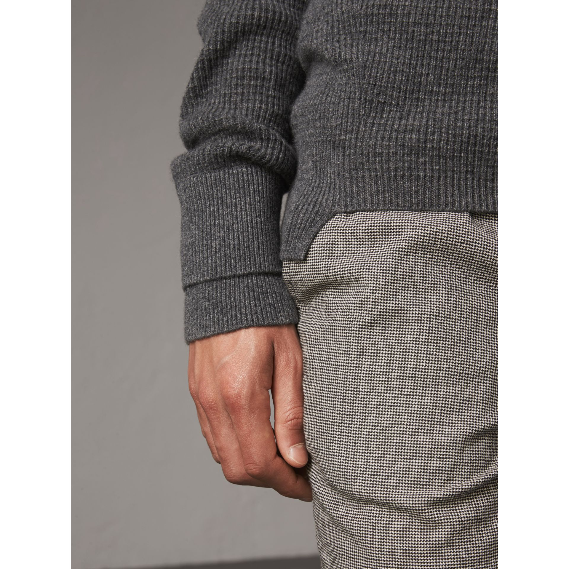 Waffle Knit Cashmere Sweater in Dark Grey Melange - Men | Burberry - gallery image 5