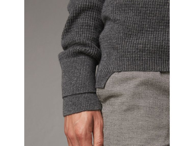 Waffle Knit Cashmere Sweater in Dark Grey Melange - Men | Burberry - cell image 4