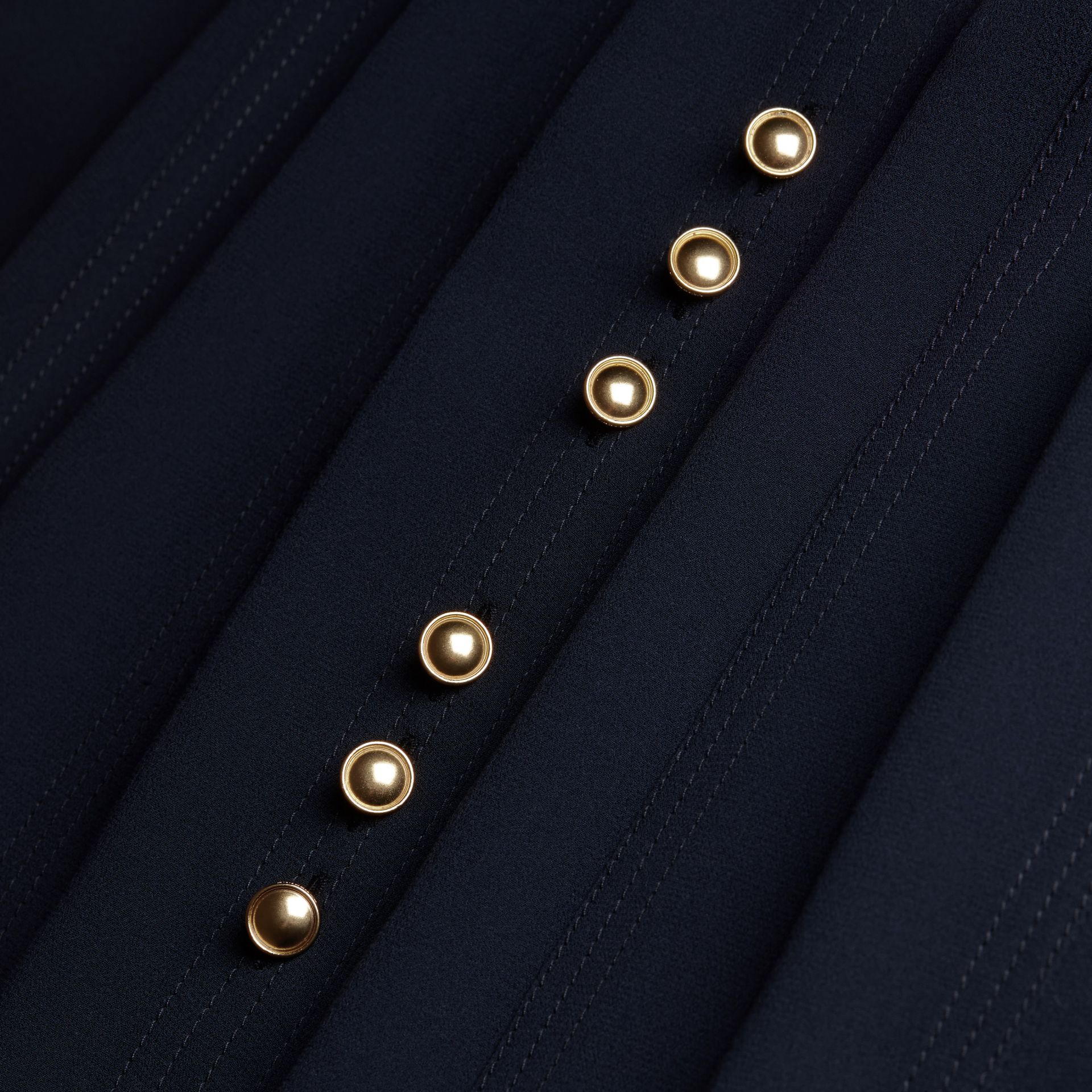 Navy Silk Dress with Polished Buttons - gallery image 2