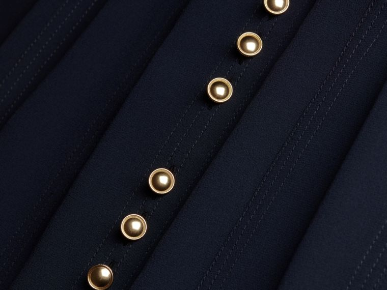 Navy Silk Dress with Polished Buttons - cell image 1