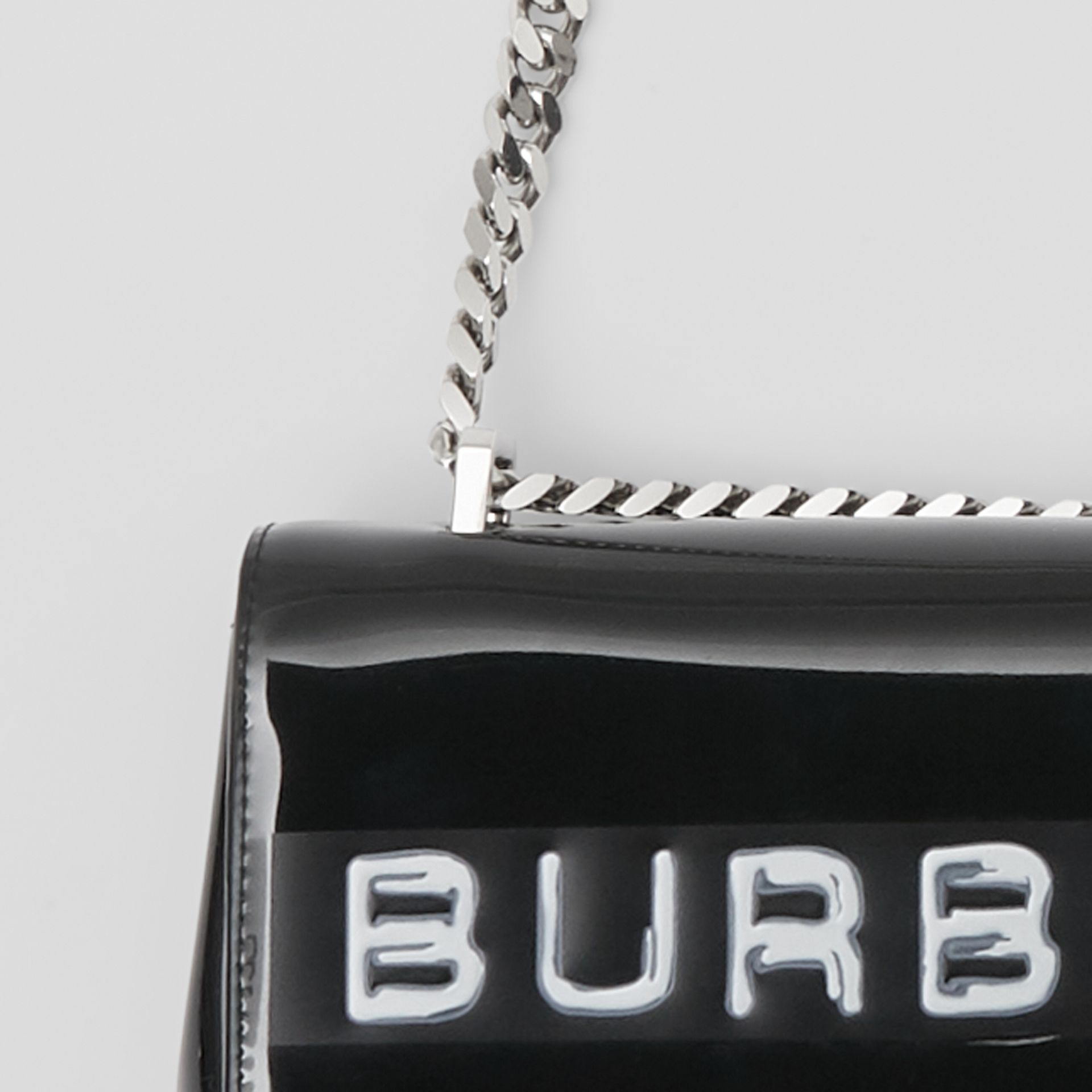 Small Tape Print Laminated Lola Bag in Black | Burberry United States - gallery image 7