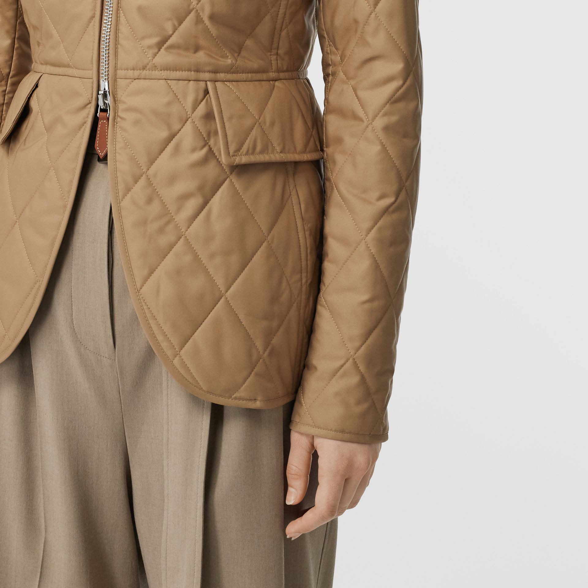 Monogram Motif Quilted Riding Jacket in Honey - Women | Burberry - gallery image 4