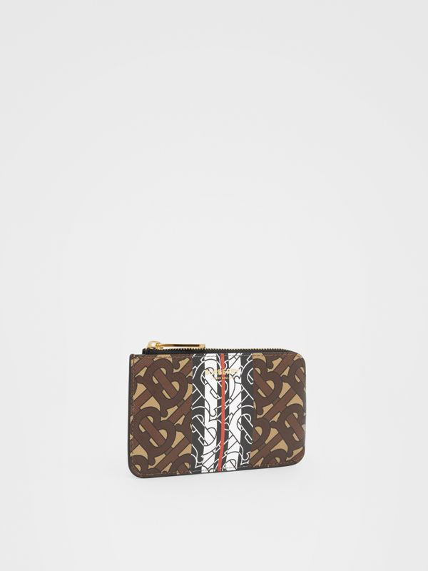 Monogram Stripe E-canvas Zip Coin Case in Bridle Brown - Women | Burberry - cell image 3