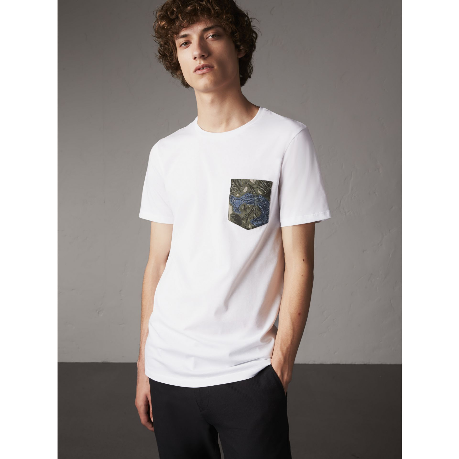 Beasts Jacquard Pocket Detail Cotton T-shirt in White - gallery image 1