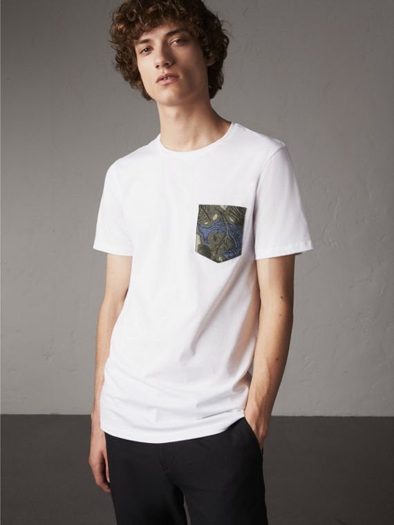 Beasts Jacquard Pocket Detail Cotton T-shirt in White - Men | Burberry Australia
