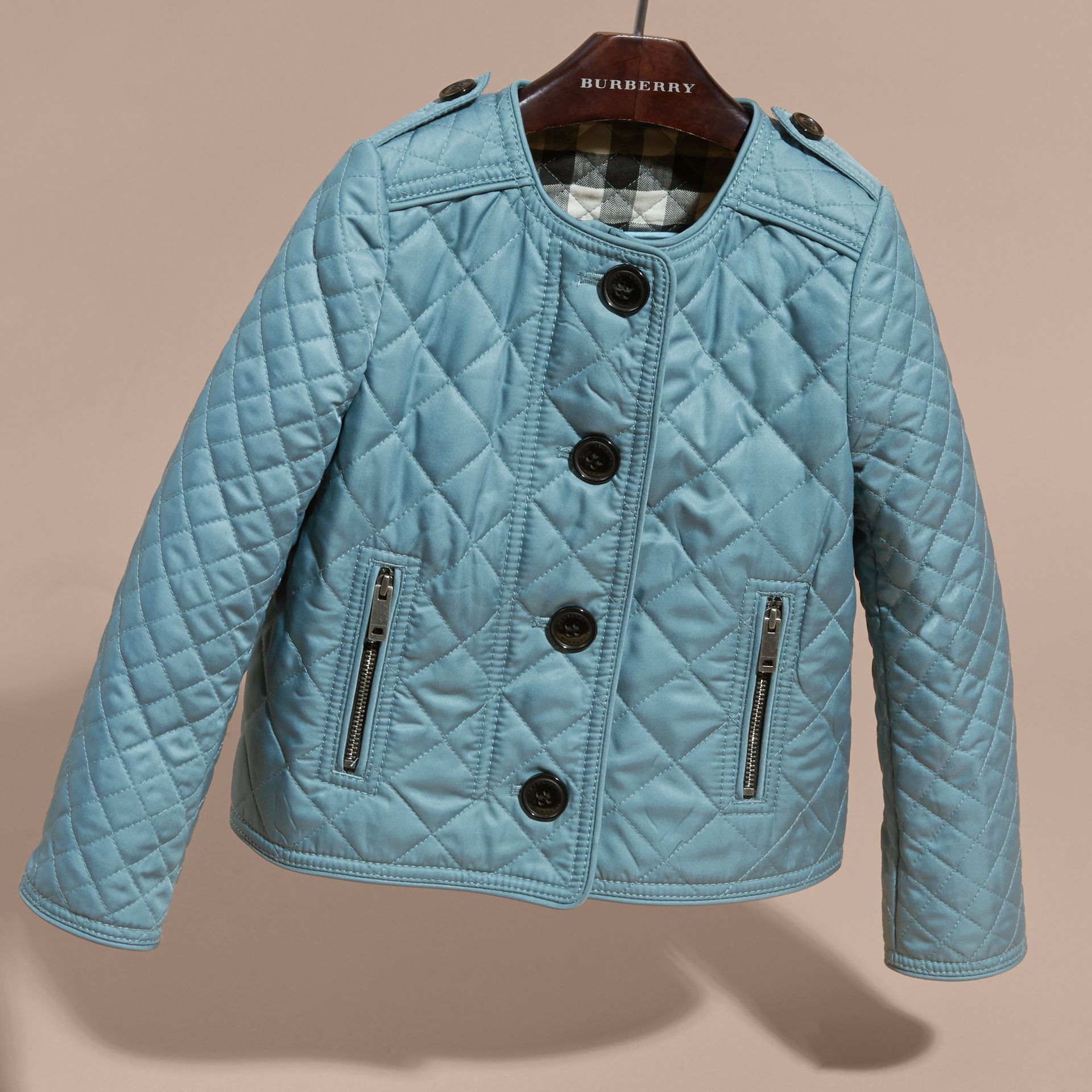 Collarless Diamond Quilted Jacket Dusty Teal Blue - gallery image 3
